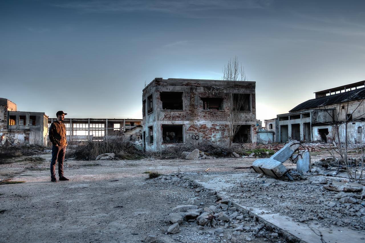 hdr, destroyed area, old factory